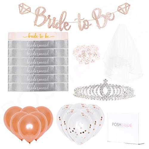 (Rose Gold Pink Bachelorette Party Decorations Bundle | Bridal Shower Supplies | Bridal Shower Decorations| Bride to Be Sash, Rhinestone Tiara, Bride to be Banner, Veil + Bride Tribe)