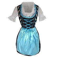 Dirndl World Womens Di26,3 Piece Mini Dirndl Dress, Blouse, Apron, Sizes 4-22