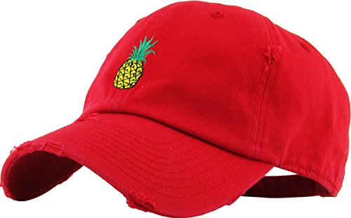 KBSV-024 RED Pineapple Vintage Distressed Dad Hat Baseball Cap Polo Style Adjustable