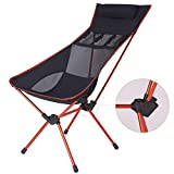 Lightweight Folding High Back Angle-Adjustable Camping Chair with Headrest, Compact for Backpacking Picnic Beach Festival Hiking -with Carry Bag-Max Load Bearing: 300LB