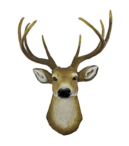 Deer Head Trophy - 8 Point Large Natural Rustic Faux Deer Head |Trophy Room Decor Wall Art| Hand finished Home Decor, Farmhouse Decor Bedroom Decor Bathroom Decor Office Decor Rustic Wall Decor Rustic Home Decor Accents