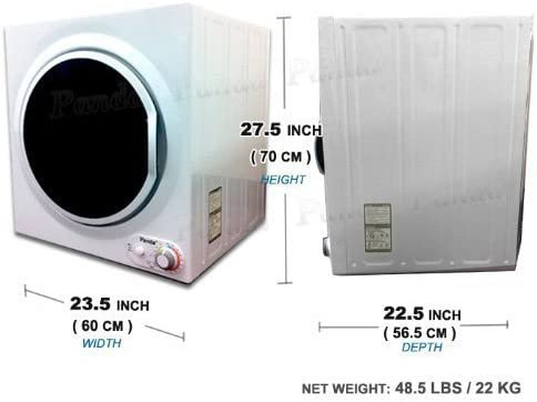 B073BLHCND Panda 3.75 cu.ft Compact Laundry Dryer, 13.2lbs Capacity, Control Panel Downside, PAN760SF White and Black 51dCfDLb86L.SL1028_