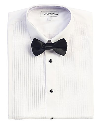 Gioberti Boy's Tuxedo Dress Shirt with Bow Tie, White, Size 14