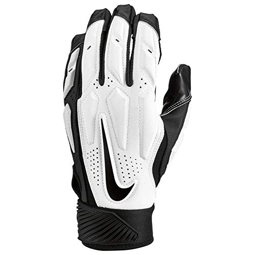 (Nike Mens D-Tack 6 Lineman Gloves (Large, White/Black) )
