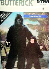 [Butterick 5799 Gorilla Childs Costume Pattern S-M-L-XL (4-14)(Breast 18 to 23)] (Gorilla Costume Pattern)
