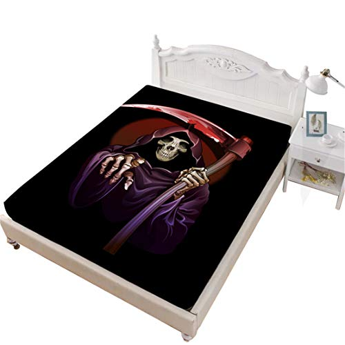 JARSON 1Pcs Grim Reaper Fitted Sheet Full Size,Halloween Cartoon Sheet Deep Pocket Bedding ()