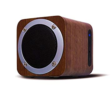 OHHAI Bluetooth Speaker with Subwoofer, 10h Playtime Wooden Speakers for Party Walnut