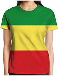 Ethiopian Flag Women's Printed Pullover Casual Tees Short Sleeve T-Shirt For Youth Girls