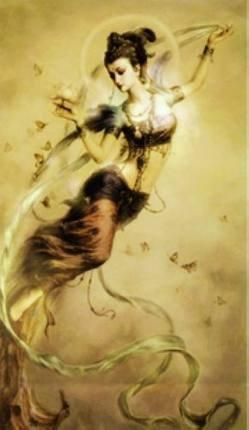敦煌アート 空を飛んビューティー 飛天美女 クロスステッチ 刺繍キット世界名作14カウント白 54cm * 84cm B072LDCWBD