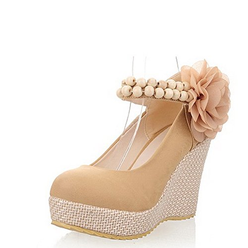 Balamasa Womens Buckle High Heels Solid Pumps Shoes Beige lEhsPvoc