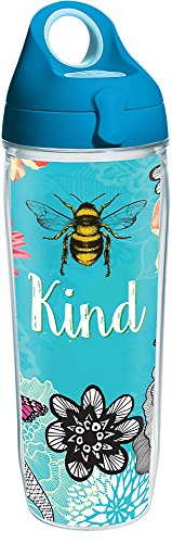 Tervis 1281663 Be Kind Tumbler with Wrap and Turquoise Lid 24oz Water Bottle, Clear