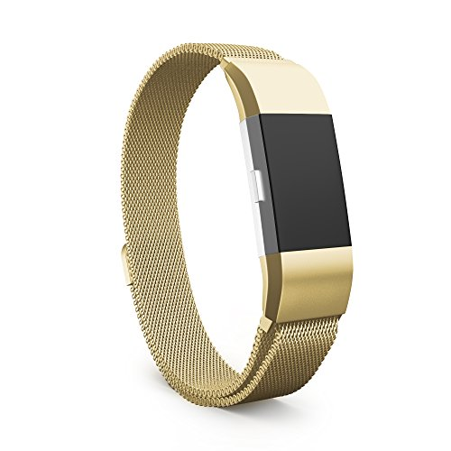 Fitbit Charge 2 Bands, Antique Gold, Stainless Steel Milanese Loop Metal Replacement Accessories Bracelet Strap with Unique Magnet Lock for Fitbit Charge 2 HR, Small, Antique Gold by Teak (Antiques Products)