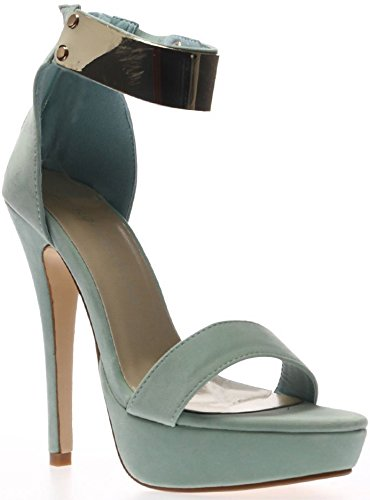 08bc8f425ffb Ladies Womens Mint Green Black Gold Metal Ankle Cuff Strappy Sandals Peep  Toes Stiletto High Heels