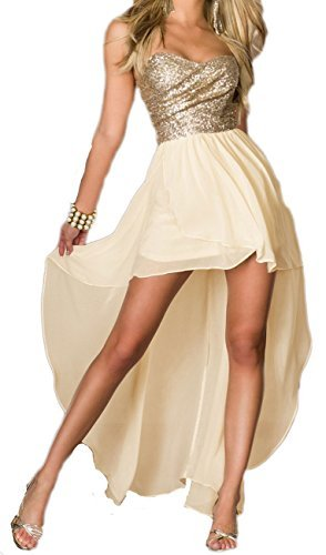 Made2envy Vestido para mujer de estilo asimétrico y corte largo color oro de talla S