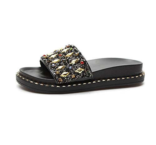 LIANGXIE Lady Fashion Rhinestones A Style Slipper With A Thick Bottom Flat With A Word Drag New Non-slip Comfort Muffin And Women's Shoes Zhhzz (Color : Diamond Diamond Black, Size : 38) -