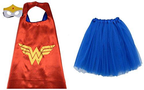 [Superhero TUTU, CAPE, & MASK - Adult Teen Plus Womens Complete Halloween Costume (Plus Size Adult Tutu, Wonder Woman - Red &] (Womens Plus Halloween Costumes)