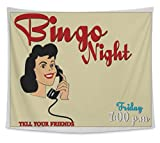 Gear New Wall Tapestry For Bedroom Hanging Art Decor College Dorm Bohemian, Bingo Night Invite, Large, 104 inches wide by 88 inches tall