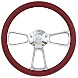 Burgundy Steering Wheel 14 Inch Aluminum with Chevy Installation Adapter and Horn