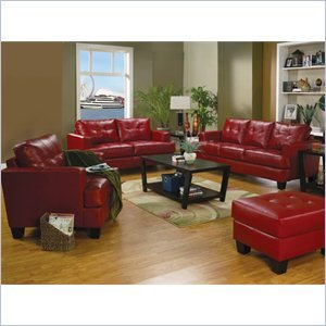 Coaster Samuel Modern 3 Piece Tufted Sofa Set in Red Bonded Leather