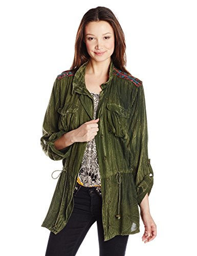 Angie Junior's Long Sleeve Button Up Jacket, Military Green, Large