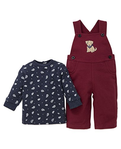 Little Me Baby Boys' 2 Piece Knit Overall Set, Puppy, 3 Months - Newborn Boys 2 Piece Overall