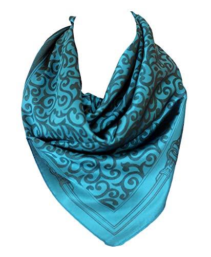 Embossed Blue Dots - Self Embossed Polka Dots Spots Paisley Print Border Silk Feel Square Bandana Neck Scarf Head Scarves (Turquoise Blue)