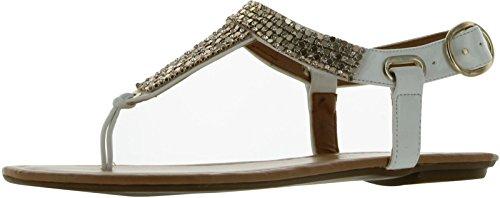City Classified Women's Lynet Metallic Mesh T-Strap Thong Flat Slingback Sandal,White Patent-Lynet,6.5 ()