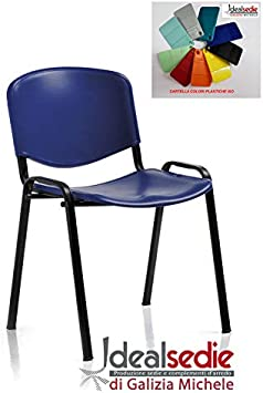 Europrimo Sedia da Ufficio Poltrona Fissa per Sala Attesa Metallo e plastica Arancio Arancione impilabile
