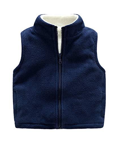 Aivtalk Kids Boys Waistcoat High Neck Zipper Up Slant Pockets Sleeveless Polar Fleece Vest 3-4T Deep Blue