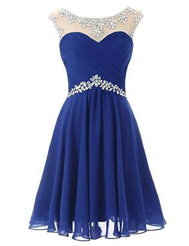 Sarahbridal Women's Short Chiffon Homecoming Dress Beaded Prom Gown for Sweet 16 Royal Blue US2
