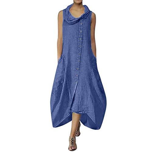Womens Maxi Dresses Cotton Casual Sleeveless Dresses Retro Ruffle Hem Long Dress for Evening Party Beach