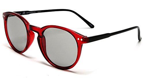 Samba Shades Liz and Rick Classic Round Vintage Wayfarer Sunglasses with Red Frame, Grey - Frame Round Red Sunglasses