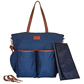 Diaper Bag Tote Large Unisex Stylish Travel Baby Bag by Hip Cub for Mom and Dad with Changing Pad and Stroller Straps, Denim