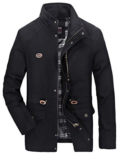 Vcansion Men's Cotton Lightweight Windbreaker Jacket Removable Hood Black L