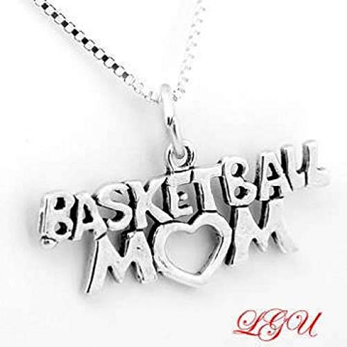 Sterling Silver Basketball MOM Charm/Pendant Jewelry Making Supply Pendant Bracelet DIY Crafting by Wholesale Charms ()