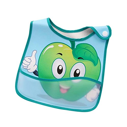 Baby Waterproof Bib Easily Wipes Clean for 0-2 years Boys Girls, Iuhan Comfortable Soft Baby Bibs Keep Stains Off, Cartoon Fruits Print Bandana Drool Bibs for Infant, Toddler (D) -