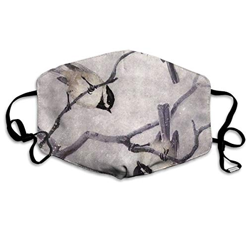 Half Face Mask Bandanas for Men Women Painting Animal Chickadee Birds Dust Mouth Masks Adjustable Anti-Dust Earloop Reusable Safety Respirator for Outdoors Festivals Sports White