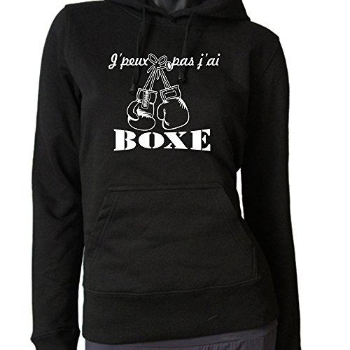 Sweat à capuche noir femme j'peux pas j'ai boxe