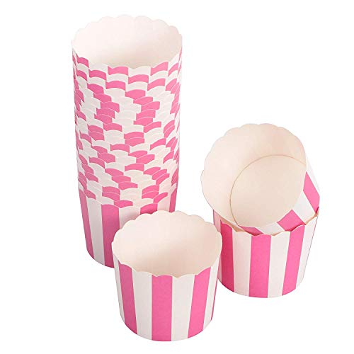 (Webake 25 Pack Nonstick Paper 2.7 In Muffin Cup Disposable Paper Cake Cup (Rosered Stripe))