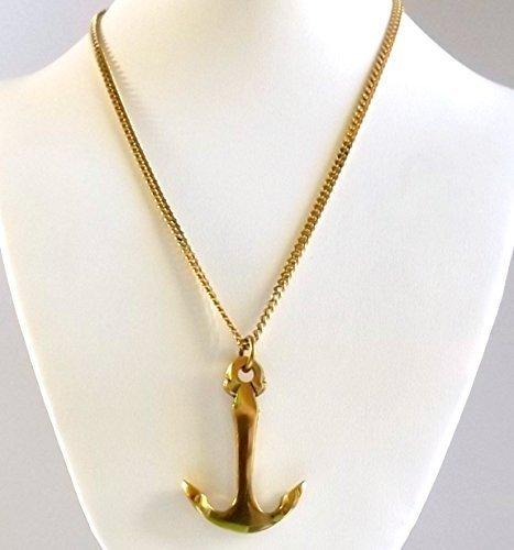Gold Vermeil Unisex Pendant Nautical Large Brass Anchor Ocean Lovers Collection Men Women Vermeil Fancy Pendant