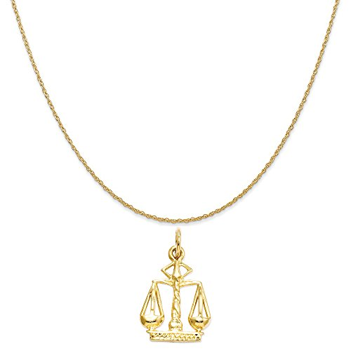 14k Scales (14k Yellow Gold Scales Of Justice Charm on a 14K Yellow Gold Rope Chain Necklace, 16