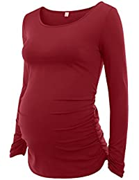 Women's Maternity Ruched Tunic Tops Mama Clothes Long...