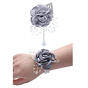 JustMyDress Wedding Wrist Corsage Brooch Set Flower Bead Bracelet Bridesmaid Prom Party JW72 3
