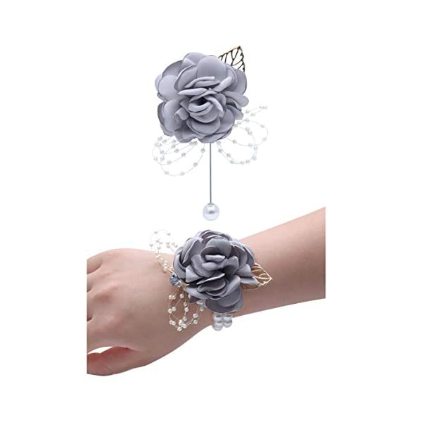 Wedding Wrist Corsage Brooch Set Flower Bead Bracelet Bridesmaid Prom Party JW72 (E)