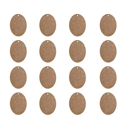 Brass Oval Pendant - PandaHall Elite 50 Pcs Brass Flat Oval Blank Stamping Tag Pendants Charms 40x30x0.5mm Jewelry Making Antique Bronze