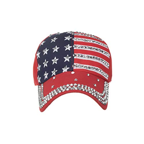 American Flag Embroidered Washed Cotton Baseball Cap-Adjustable Rhinestone Star Trucker Hat Snap Back Sun Mesh Visor