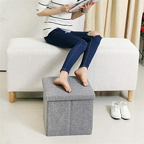 YUMUO Change Banc de Chaussures Pouf Pliant Repose-Pieds Siège Lin Tissu Pouf Boîte de Rangement Repose-Pieds Pliant Versatile Cube (Couleur: Vert)