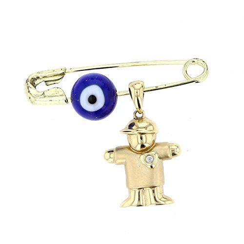 Baby Pins, 14 KT Gold & Diamond Charm with Evil Eye Charm on Safety Pin (BOY CHARM)