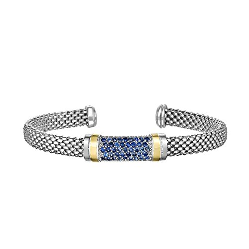 Sterling Silver 18k Yellow Gold 6mm Cuff Popcorn Center Bangle Bracelet 0.9702ct 1.5mm Blue Sapphire