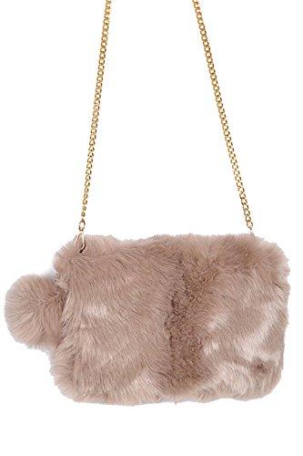 Faux Fluffy PomPom Square Fur Bag W Shoulder PPC5718 Clutch Womens Khaki PZnwTx7Rqw